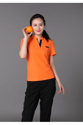 Ladies Short Sleeve Stand Collar T-Shirt