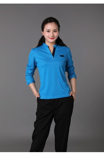 Ladies  Long Sleeve Stand Collar T-Shirt