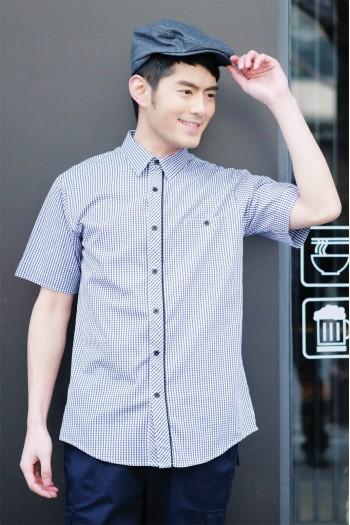男式短袖格子衬衫