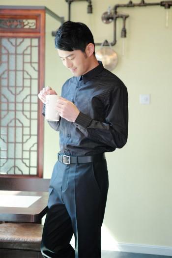 男式长袖条纹衬衫
